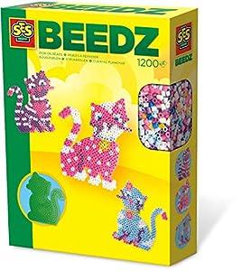 SES Creative Beedz SES: Set de Cuentas para Planchar de Gatos - Kits de Mosaico (5 año(s), Niño/niña, Preescolar, Gato, Multicolor, 1200 Pieza(s))