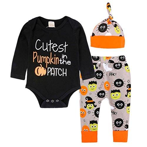 9 Kostüm Halloween Cloud (SUCES Neugeboren Säugling Baby Briefe drucken Lange Ärmel Spielanzug Tops + Halloween Drucken Hose Jogginghose + Schön Hut Weich Baumwollmischung Outfits Sets (100,)