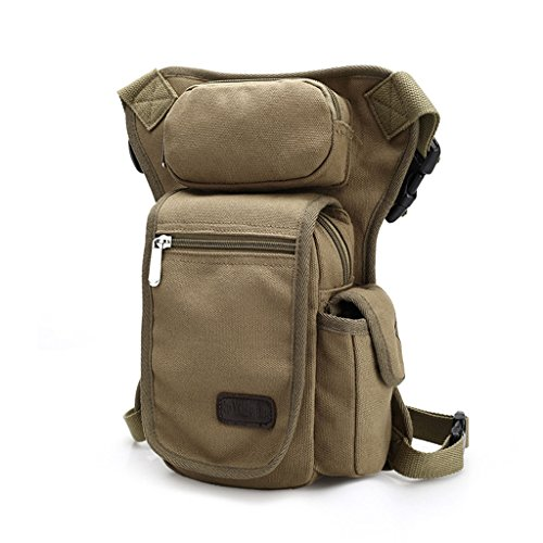 Outreo Marsupio di Tela Borse da Viaggio Borsa da Uomo Sportive Trekking Tasca Outdoor Sport Bag Borsello Escursioni Borse Vintage Esercito per Corsa beige