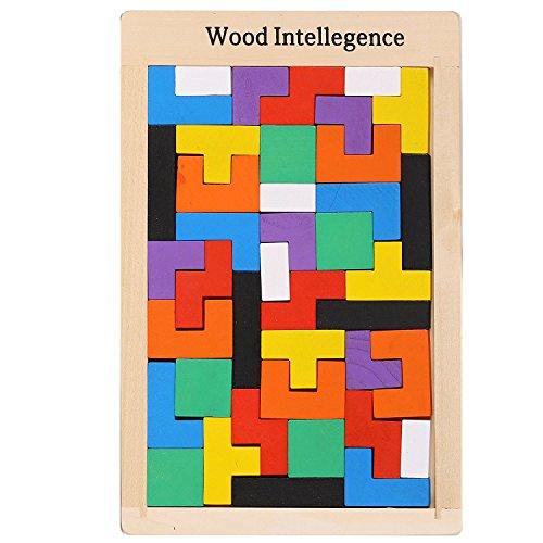 Irady Tetris Tangram Holzpuzzles Didaktisches Lernspielzeug 40 Pcs Intelligenz Pädagigisches Spielzeug für Kinder ab 3 - Physik Die Sachen