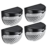 (6 LED) Amir Solar Lights, Garden Lights, Solar Powered Wireless Light, Waterproof Solar Security Lights for Garden, Patio, Fence, Yard, Stairway, Gate, Wall, 4 Batteries Included (Pack of 4, Black)