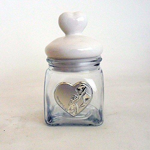 Dlm16418 barattolo cuore con piastra per matrimonio bomboniera