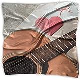 Pizeok La chitarra e il cuore rosso piegano la carta con le sciarpe di modo multiuso delle copricapo della sciarpa quadrata delle donne della busta bianca