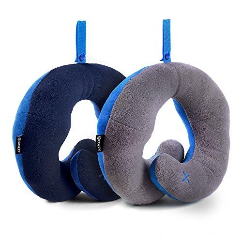 BCOZZY Cuscino da viaggio per il collo con supporto per il mento - Sostiene la Testa, il Collo e il Mento nel Massimo Comfort. Prodotto Brevettato. Sconto- Set di 2. Adulto, BLU MARINO + GRIGIO
