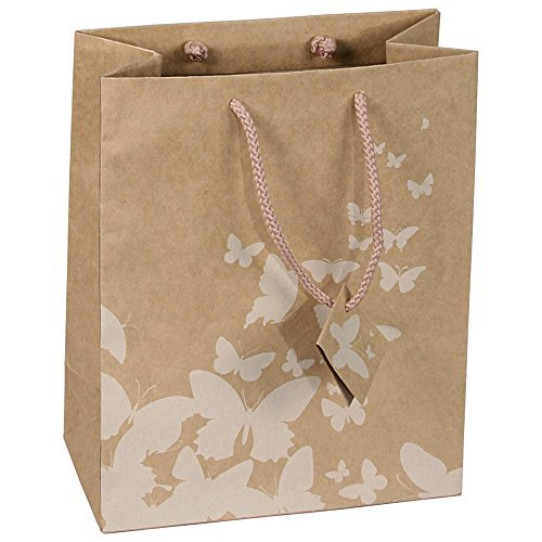 10 pcs Extra Small Kraft Shopping Paper Gift Sales Tote Bags with White Butterfly Print 3 x 2 x 3.5 by Caddy Bay Collection (Small Collection Tote)
