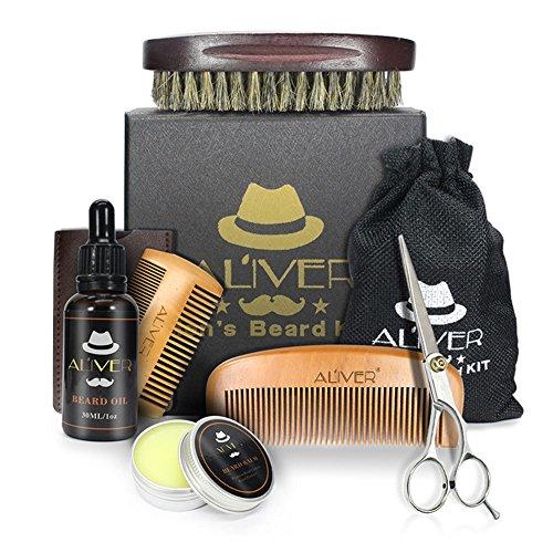 Favourall Kit de soin de barbe pour hommes (8 pièces) : huile organique (30 ml),baume organique (30 g), peigne à barbe brosse à barbe,sécateur à barbe en acier inoxydable - Avec sac/boîte de voyage