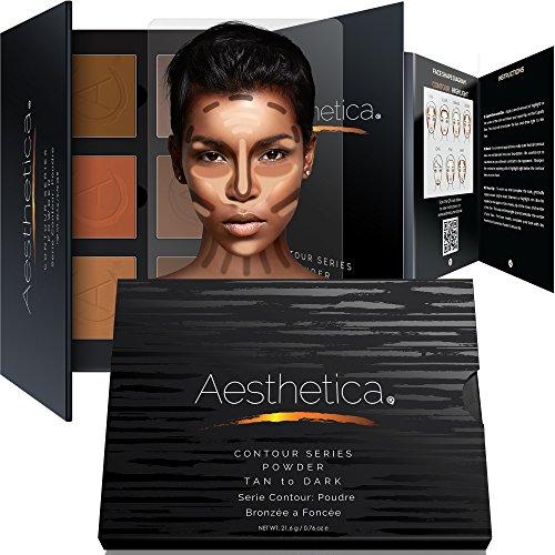 Série Aesthetica Contour - Kit de poudre de contour pour peau bronzée à sombre / palette de maquillage pour réaliser le contour et rehausser le visage ; consignes pas-à-pas faciles à suivre incluses - sans composants d'origine animale et sans cruauté envers les animaux