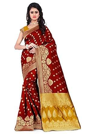 Vatsla Enterprise Women's Cotton Silk Saree With Blouse Piece (Vapex107Bredyellow_Yellow & Red)