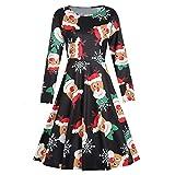 VEMOW Heißer Elegante Damen Abendkleid Vintage Weihnachten Santa Gedruckt Kostüm A-Line Lose Beiläufige Tägliche Party Schaukel Kleid(Y1-Schwarz, EU-38/CN-L)