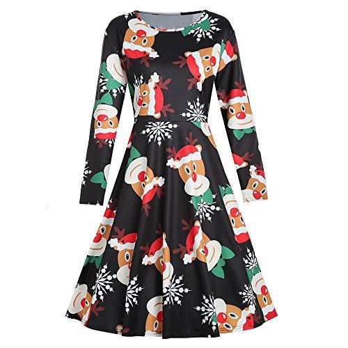 OSYARD Weihnachts A-Linie Swing Kleid Damen,Christmas Dress Mädchen, -
