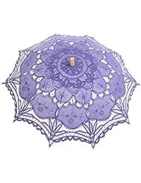 Topwedding parasol de mariage en coton avec broderies,Violet