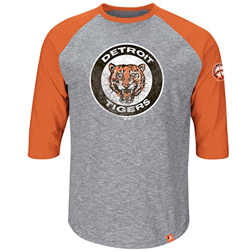 MLB Baseball DETROIT TIGERS Shirt 3/4 sleeves Home Stretch in LARGE (L) (Jersey-top 3/4 Sleeve)