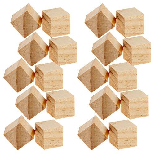 MagiDeal 20 Stücke Holzblöcke für DIY Schmuckherstellung und Kinder Spielzeug Herstellung - Würfel