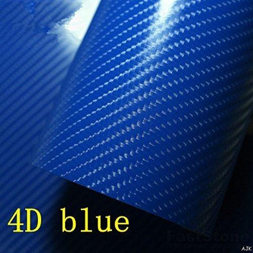 4D Blu Lucido Fibra Di Carbonio Pellicola In Vinile lucido Lenzuolo Senza Aria diverse misure (50cm x 1,52 m)