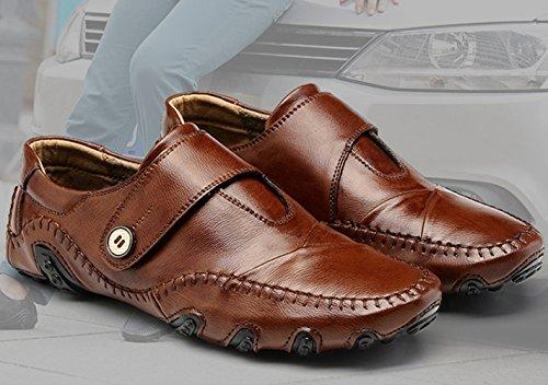 SZAWSL Herren Leder Schuhe Slipper Elegant Flache Loafers Bootsschuhe Freizeitschuhe Braun