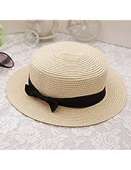 La versi¨®n coreana del verano Small Cap Sombrero de Paja El despunte de nudo de lazo de cordel toldos negra corta sun beach sombreros