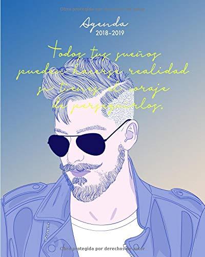 Agenda 2018-2019: Agenda semanal, agosto 2018 - julio 2019, Hombre con barba (Regalo perfecto para amigo o amiga) por Papeterie Collectif