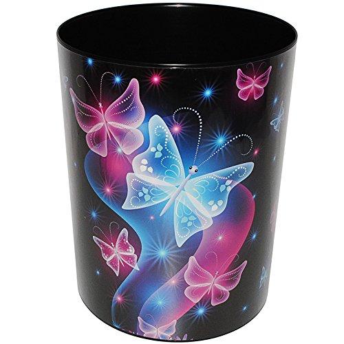 """Papierkorb / Behälter - """" Schmetterlinge & Blumen """" - aus Kunststoff - Mülleimer / Eimer - Aufbewahrungsbox für Kinder / Büro - Mädchen & Jungen - Abfalleimer - Schule - für Kinderschreibtisch / Abfallbehälter Kinderzimmer - Erwachsene - Schmetterlinge - Tiere / lila pink blau - Blumenranken Retro Design - Blüten - auch als Blumentopf nutzbar - Kunststoffeimer / Abfallsammler"""