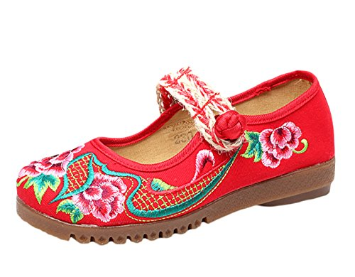Insun Femme Ballerines Vintage Broderie Fleur Mary Janes Chaussures Plates Rouge