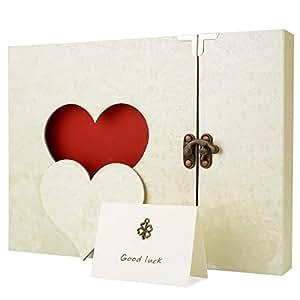 Cobee- Album Foto Scrapbook Sticker Diario Creativo Ritagliato a Forma di Cuore Regalo(Impresso Fiore Modello)