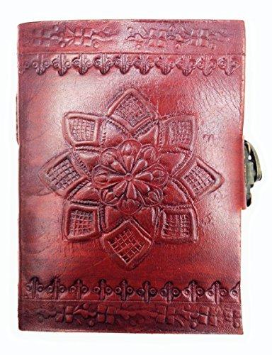 Kooly Zen Notizblock, Tagebuch, Buch, Mandala, Metallverschluss, echtes Leder, Vintage, 9 cm x 13 cm, Premium-Papier 13 Premium-leder
