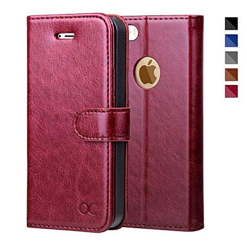OCASE iPhone 5S Hülle, Handyhülle iPhone 5 [Premium Leder] [Standfunktion] [Kartenfach] [Magnetverschluss] Leder Brieftasche für iPhone 5S SE 5 Geräte Burgundy