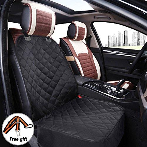 FOCUSPET Coprisedile Auto Cane con Cintura di Sicurezza, Copertura Telo Anteriore Auto Animale Domestico Coprisedile Sedile di Protezione Antiscivolo e Impermeabile Universale(NERO)