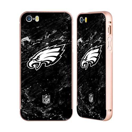 Ufficiale NFL Pattern 2017/18 Philadelphia Eagles Oro Cover Contorno con Bumper in Alluminio per Apple iPhone 5 / 5s / SE Marmo