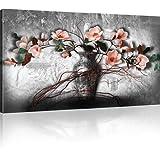 Magnolien in der Vase Wandbild Blumen Bilder auf Leinwand - 100x55 cm 1-Teilig: Schwarz-weiss