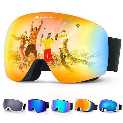 Avoalre Skibrille Damen Herren Snowboardbrille UV-Schutz rahmenlose Linse Ski-Schutzbrillen Verbesserte Belüftung für Motorrad Skifahren Skaten Wintersport(Orange)