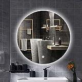 Miroir de Salle de Bains à LED, Rond sans Cadre, commutateur Tactile, Fonction de...