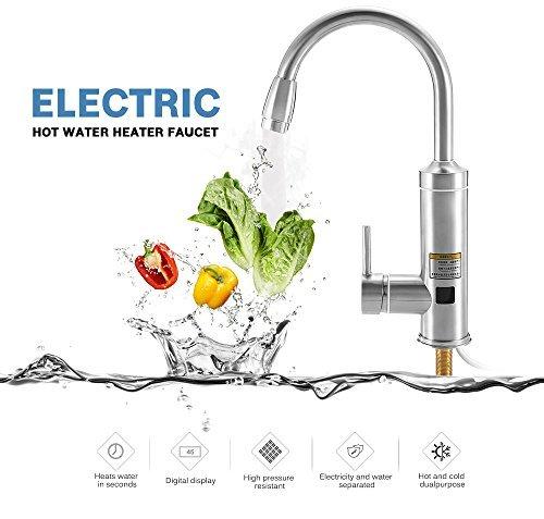PARAMITA Rapid Elektrischer Warmwasserbereiter LED Temperaturanzeige 丨 Edelstahl-Heizungsarmatur 丨 KitchenTap 丨 Badarmatur 丨 (Silber1)