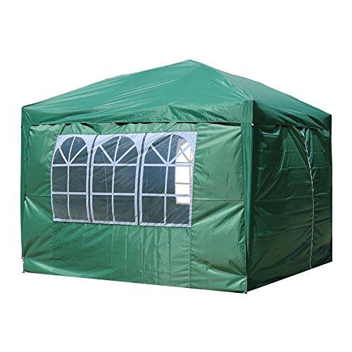 HG® 3x3m Faltpavillon Bier Pavillion Zelt Gartenpavillon Partyzelt in grün Wasserdicht Festzelt Klappzelt Farbe wählbar PVC