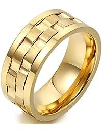 JewelryWe Anillos Hombre Dorado, 9mm Acero Inoxidable, Anillo Giratorio Original, Anillos de Compromiso/Boda, Talla…