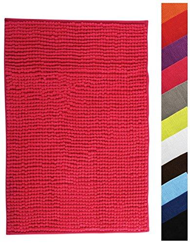 MSV Badteppich Badvorleger Duschvorleger Chenille Hochflor Badematte 40x60 cm – Pink