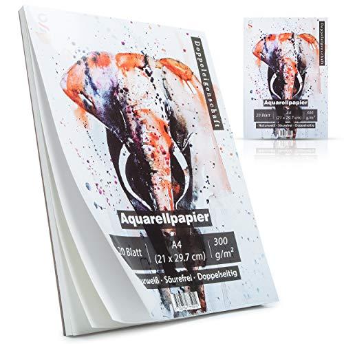2x Aquarellpapier als Malblock mit zwei Strukturen [ DIN A4 300g 20 Blatt ] geleimt, natur   weiß   Watercolour Paper Pad