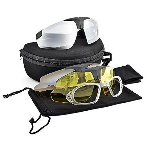 Schiessbrille Soft Air-Schutz 3Wechselgläser Anti Beschlagen Royal Gelb/Browning/Fume '