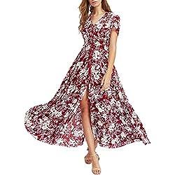 Xinantime Vestido Fiesta Mujer, Botón Largo Impreso Floral de Manga Larga Dividida Vestido Fluido Partido de la Mujer Vestidos Bohemio Wrap Floral Impreso Vintage Estilo étnico de Alta Split