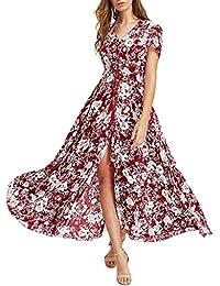 a742d85753a Barkoiesy Robe Longue Bohème Robe Manches Courte Col V Robe Taille Haute  Robe Été Vintage Imprimé Jupe Femme Mode Fente Robe…