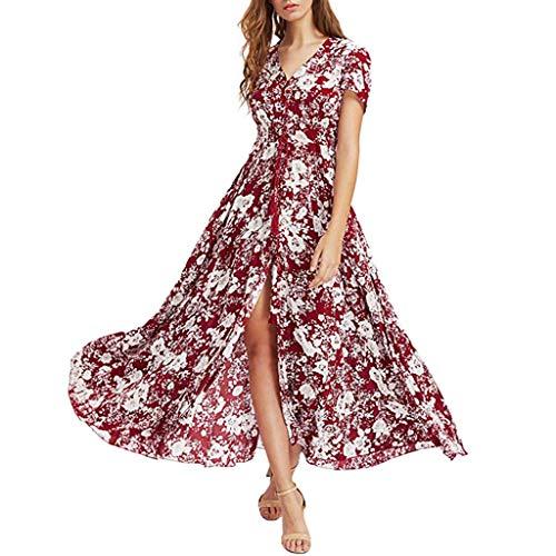 Frauen Sommer Blumenblumen Tiefer V-Ausschnitt Sexy Backless Asymmetrical Spitzenkleid Hochwertiges Halterkleid Reizvoller Cocktailkleid (L, Rot) ()