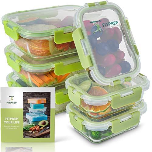 FITPREP® - robuste Glas Meal Prep Frischhaltedosen mit Deckel - 12 teiliges Set (6 Vorratsdosen + 6 Deckel) auslaufsicher, stabil & hübsch, 3 x 1040 ml & 3x370 ml