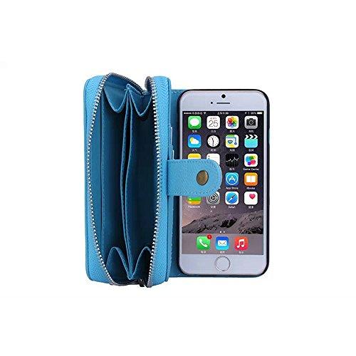 iPhone 6Plus Coque, fente pour carte Support multifonction Housse étui sac pour iPhone 14cm bleu