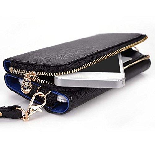 Kroo d'embrayage portefeuille avec dragonne et sangle bandoulière pour Allview P6Quad/P5Symbole Multicolore - Noir/gris Multicolore - Black and Blue