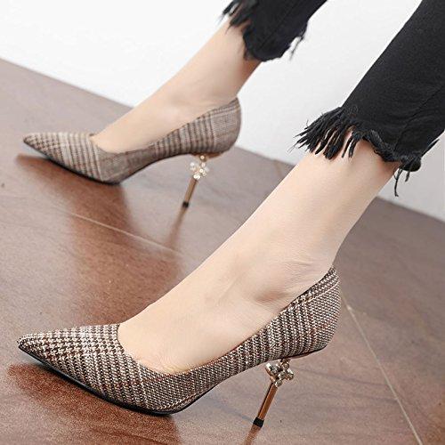 FLYRCX autunno, inverno, poco profonde, moda, tacco alto, high heeled shoes, signore di temperamento e personalità festa le scarpe A