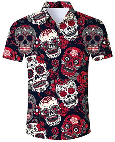 Männer Benutzerdefinierte Kostüm - ALISISTER Halloween Shirts Herren Jungen 3D Coole Schädel Muster Halloween Festival Party Benutzerdefinierte Button Down Kurzarm Hemd XL