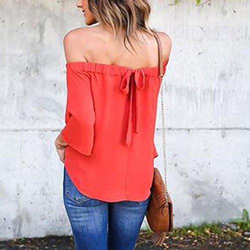 Manadlian - T-shirts Femmes Blouse Off Épaule Tops à Manches Longues Chemise Casual T-Shirt Lâche Rouge