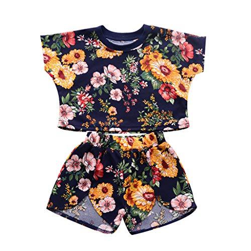 LEXUPE Kleinkind Baby Kinder Mädchen Dot Floral Tops Print Shorts Set Casual Sport Outfits(Schwarz,100)