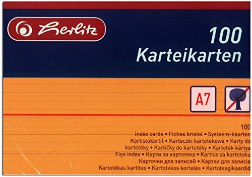 Herlitz Karteikarten A7, liniert (Orange, 200 Karten)