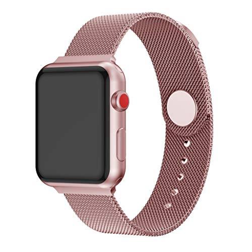 Lazzgirl Milanese Loop Mesh Metall Ersatzband für Apple Watch 4/3/2 38 / 40mm(Rosa, One Size)