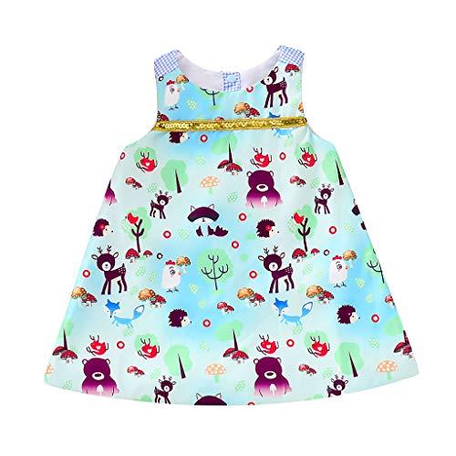 eidung, YanHoo Kleinkind Kleinkind Baby Mädchen Cartoon Tiere Plaid Print Ärmellose Kleider Outfits Baby Animal Print Kleid Princess Dress ()